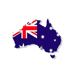 Australia flag map with shadow effect vector