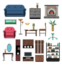 Interior icons flat set vector