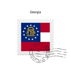 State of georgia flag postage stamp vector