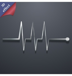 Cardiogram monitoring icon symbol 3d style trendy vector