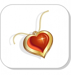 Golden chain and love pendant vector