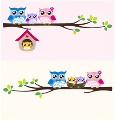 Owl happy family vector