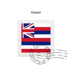 State of hawaii flag postage stamp vector