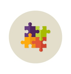 Teamwork puzzle four flat icon vector
