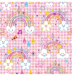 Rainbows clouds hearts raindrops seamless pattern vector
