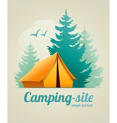 Camping with tent in forest vector