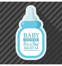 Blue baby bottle card vector