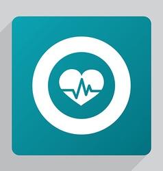 Flat heart pulse icon vector