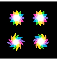 Abstract colorful rainbow element on black vector