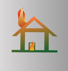 Burning house symbol vector