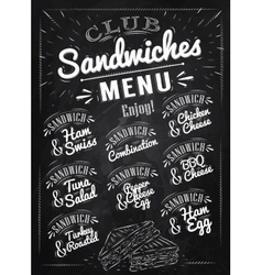 Sandwiches menu chalk vector