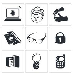 Spying icon set vector