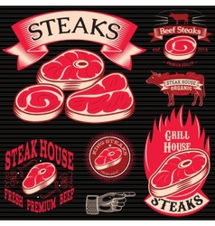 Set template for grilling barbecue steak house vector