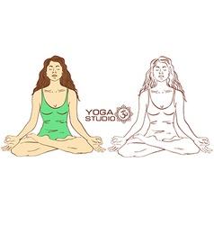 Woman sitting on lotus yoga pose vector