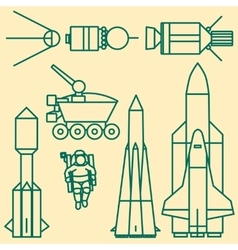 Linear set of icons relating to space exploration vector