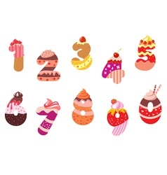 Appetizing bakery numbers and digits vector