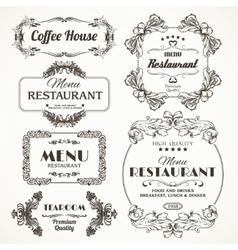 Floral restaurant frames vector