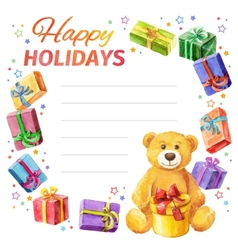 Card happy holidays frame of gifts and teddy bear vector