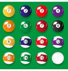 Set of 16 color billiards balls eps10 vector