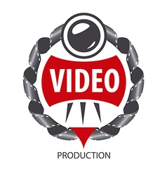 Logo emblem of the lens and videotapes vector