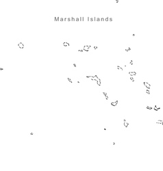 Black white marshall islands outline map vector