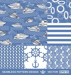 Sea backgrounds set summer maritime theme vector