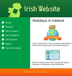 Webdesign for site about ireland vector