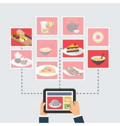 Food delivery online order or recipe searching vector