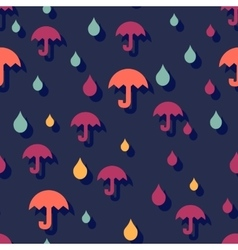 Seamless autumn background with umbrellas and rain vector