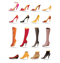 Ladies slippers shoes and boots vector