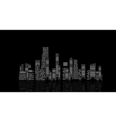 Cities silhouette on black background vector