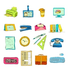 Business office stationery supplies icons set vector