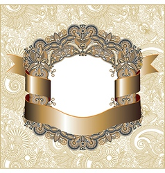 Hand draw ornate vintage frame with gold ribbon vector