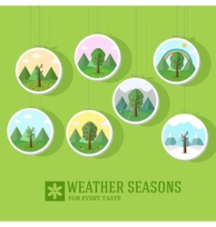 Season icon set of nature tree background tamplate vector