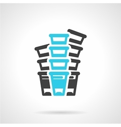 Plastic cups black and blue line icon vector