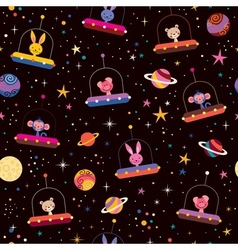 Cute animals in space kids pattern vector