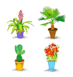 Decorative office flower icons set vector