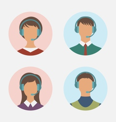 Icons of call center operator with man and woman vector