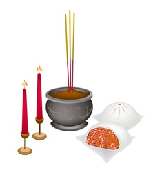 Chinese nikuman with candle and joss stick vector