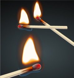 Flaming match set vector