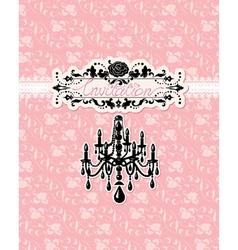 Wedding invitation card with luxury chandelier vector