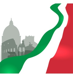 Rome with italian flag vector
