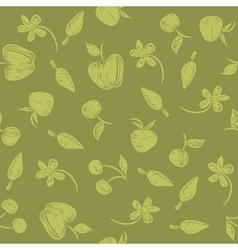 Seamless pattern with silhouettes fruit berries vector