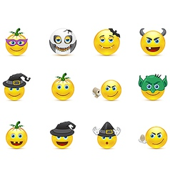 Smiley collection on a holiday halloween vector