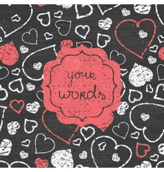 Chalkboard art hearts red frame seamless pattern vector