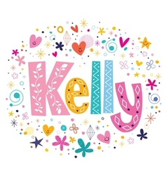Kelly female name decorative lettering type design vector