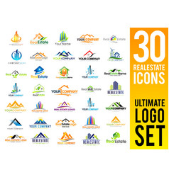 Real estate logo set vector