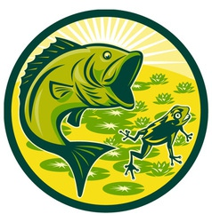 Bass fishing icon vector