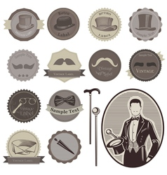 Gentlemens accessories labels vector