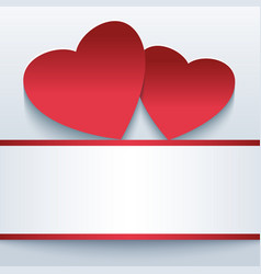 Love romantic background with red 3d hearts vector